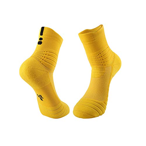 Tcare 1 Paar Basketball Socken, gepolsterte athletische Crew Socken - Dicke Sportsocken für Männer und Frauen (Gelb) -