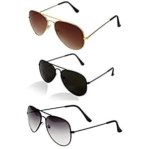Sheomy Aviator Women's/Men's Combo Of 3 Sunglasses(55,Black)