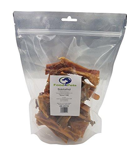 Food4Pets Rinderkopfhaut Leckerli für Hunde 500g - natürliche Zahnpflege für ihren Hund