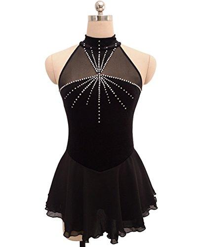 Heart&M Eiskunstlauf Kleid für Mädchen Frauen Eiskunstlauf Wettbewerb Leistung Kostüm Sleeveless Velvet Chiffon Schwarz, m