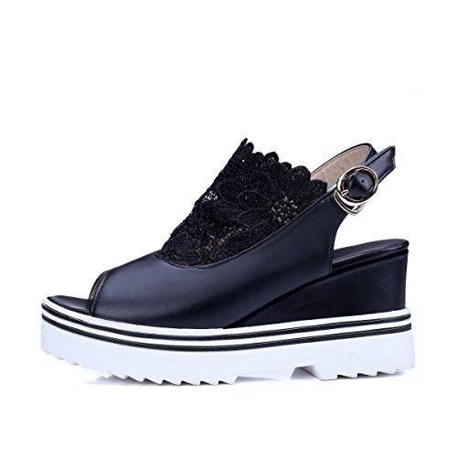 YE Damen Peep Toe High Heel Plateau Leder Wedges Keilabsatz Sandalen Mit Riemchen Schuhe Schwarz