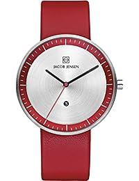 Jacob Jensen Unisex-reloj analógico de cuarzo cuero 273 Strata Series