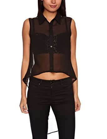 House Of Dereon Sleeveless With Chiffon Back Women's Shirt Brown/Black X-Large