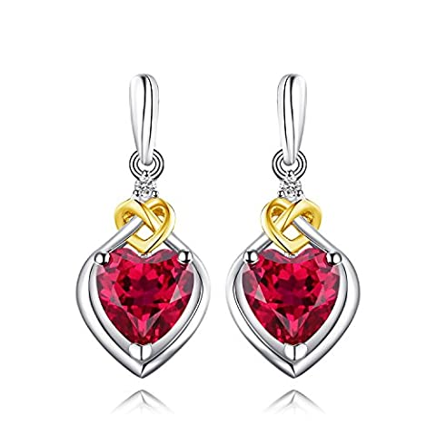 JewelryPalace Love Knot Heart 3.4ct Created Red Ruby Anniversary Drop Dangle Earrings 925 Sterling Silver 18K Yellow Gold