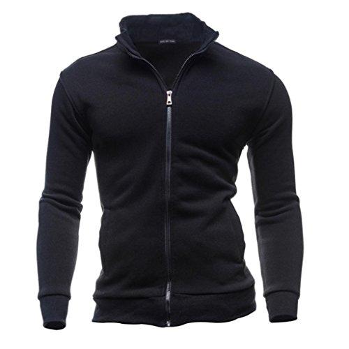Byste sweatshirts uomo autunno sport di svago cardigan cerniera felpe top giacca cappotto (xxxl, nero)