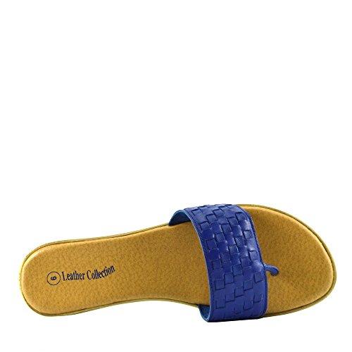 Kick Footwear - Damen Sandale mit Echt Leder Strand Flip Flops Sandalen Leder Schuhe Blue F931