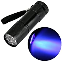 Zimo® 9 LED UV Mini Linterna Ultravioleta Luz Negra UV de Foco Linterna de Mano