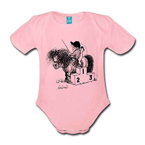 Spreadshirt Thelwell Reiten Pferd Mit Podium Baby Bio-Kurzarm-Body, 86/92 (1-2 Jahre), Hellrosa