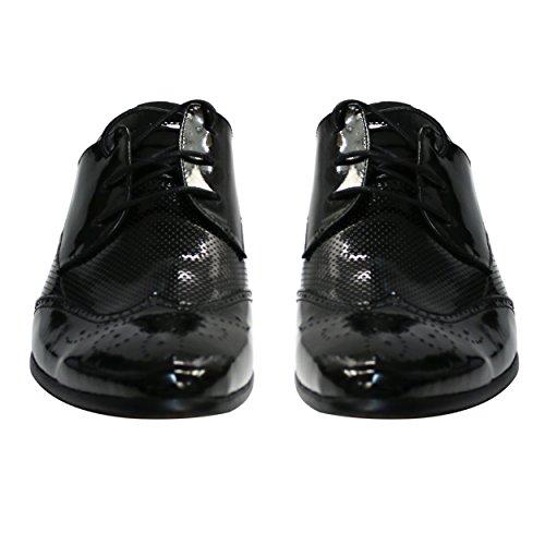 lu809 Seasonal Herren Zeh Robelli schwarz Muster Range Echtleder Schuhe 1 xaBnSqAdw