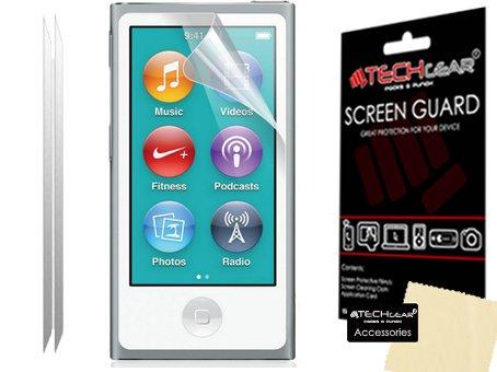 [Pack de 2] TECHGEAR® Apple IPod NANO 7 / 7th génération / 16GB Film de Protection Ultra Clair pour Écran LCD avec Chiffon de