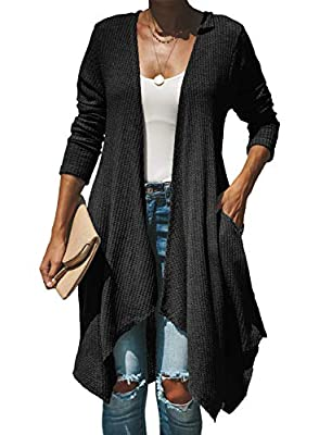FIYOTE Womens Open Front Chunky Cardigan Long Sleeve Sweater Outwear with Pocket