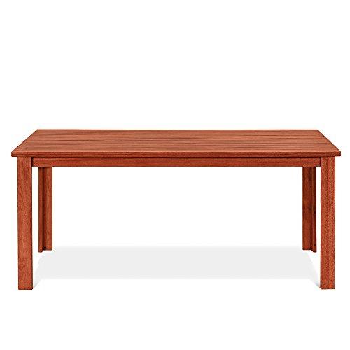 Tavolo Rettangolare in legno naturale 75x170x90 cm, mod. Narciso Tavolo da giardino in keruing a lavorazione artigianale, tavolo di legno duro per esterno, tavolo in legno keruing design italiano.