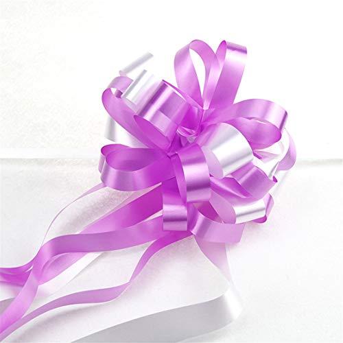 YSINFOD 10 StückePull Blume Band Klassische Schöne Geschenkbox Verpackung Dekorationen Band Zwei Farbband Ziehen Bögen Für Hochzeitsautos, Licht Lila