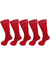 RED PLAIN COTTON SOCKS FOR BOYS/GIRLS (PACK OF 5) FOR ALL AGE GROUPS - SCHOOL SOCKS