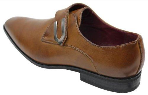 Chaussures homme mocassins marron clair cuir et simili design italien avec boucle métal style chic Noir