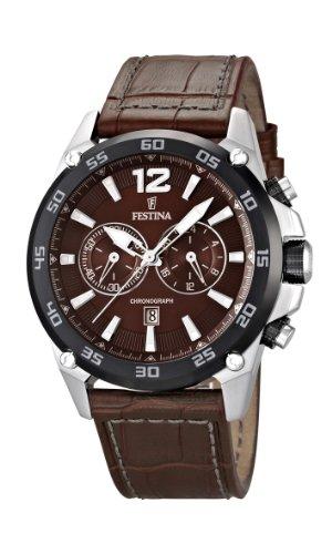 Festina Herren Chronograph Quarz Uhr mit Leder Armband F16673/3