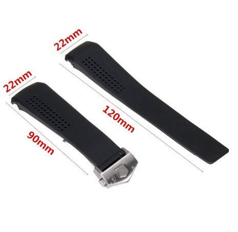 ROUHO 20/22Mm Black Rubber Band Strap for Tagheuer Cv2014 with Buckle-22Mm (Uhrenarmband Tag Heuer)