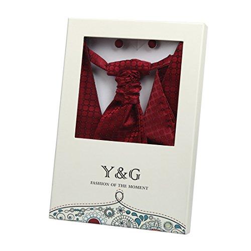 YGB1B04 Multi Patterned Idee Regalo Vest Gemelli fazzoletto plastron da Y&G Rosso-VS2025