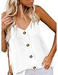 Camisolas Mujer Dormir con Botones ❤️Absolute Chaleco Moda para Mujer con Cuello en v Camisa