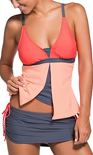 OLIPHEE Damen Bikini Set Sport Yoga Laufen Bademode Bikini Oberteil + Hosenrock 2 Teilig Tankini Orange XL