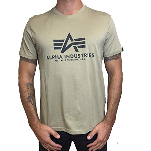 Alpha Industries T-Shirt Basic schwarz weiß blau braun grün Olive Burgundy gelb (XXL, Light Olive) -
