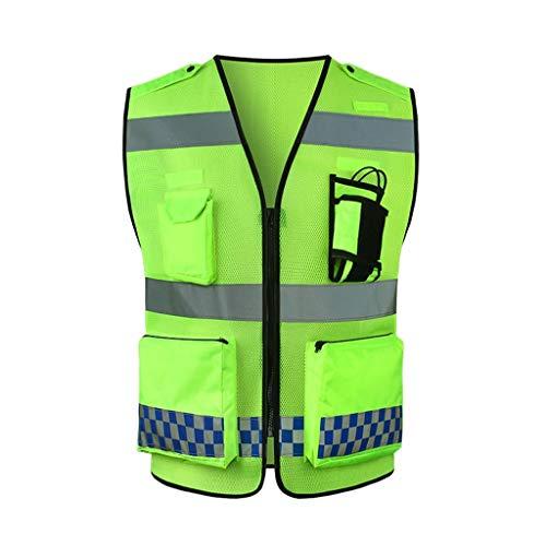 Warnweste Gut sichtbare reflektierende Laufweste mit Taschen und Reißverschluss for Damen oder Herren (fluoreszierend grün) Reflektierendem (Color : Fluorescent Yellow, Größe : L)