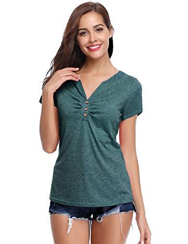 Jeans Damen Shirts (Abollria Damen Lange Bluse Baumwolle Button Down Hemd Oversize Langarmshirt für Freizeit,Dunkelgrün,S)