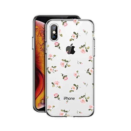 HULI Design Case Hülle für Apple iPhone X/XS mit Rosen Muster - Handy Schutzhülle klar aus Silikon mit romantischen Blumen Romantik - Handyhülle durchsichtig mit Druck