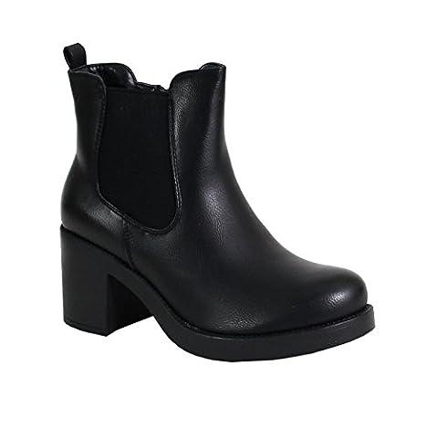 By Shoes - Bottine Talon Carré Style Cuir - Femme - S34 - Taille 39 - Black