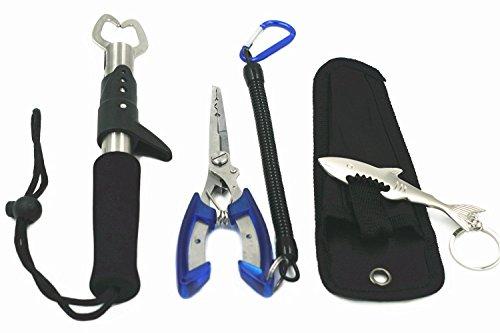 Edelstahl Fisch Lip Grip und Angeln Zange mit Lanyard Fisch Werkzeug-Sets für Einhand-Bedienung Fisch Halter/Split Ring/Braid Cutter/Haken Entferner