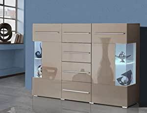 sideboard anrichte 402615 cappuccino hochglanz k che haushalt. Black Bedroom Furniture Sets. Home Design Ideas