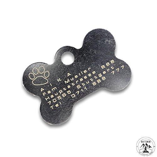 Preisvergleich Produktbild Hundemarke mit Gravur - ID Tag - Adressanhänger - Adressschild - Individuelle - Personalisiert - Diamantgravur (Silber)