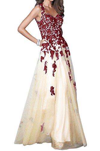 Gorgeous Bride Traumhaft Traeger Rueckenfrei Satin Spitze Tuell Lang Abendkleider Festkleid Ballkleid Dunkelrot