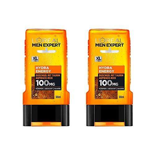 L'Oréal Men Expert Hydra Energy Taurin Duschgel, Minz-Extrakt belebt und regeneriert die Haut (Gesicht, Körper und Haare) sanft ohne auszutrocknen (2 x 300 ml) - Loreal Body Shampoo