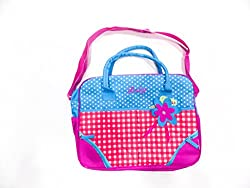pink blue mother bag with checks