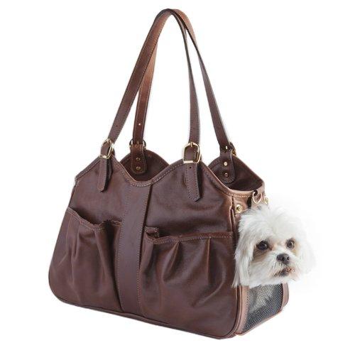 Petote Metro Couture Hundetragetasche aus Leder, Größe L, Braun (Designer Hundetragetasche Handtasche)