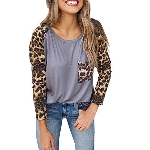LRWEY T-Shirt à Manches Longues décontracté pour Femmes Couture léopard Pullover Poche Haut Chemisier Tops Col Rond Blouse