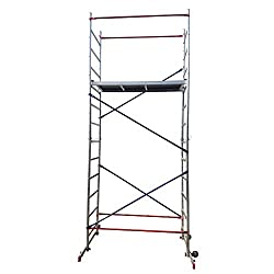 Aluminium Scaffold/Scaffolding Tower/Towers DIY Home Master 5m Working Height Massive 150kg Duty Rating with Free Colour Coded Braces and Fully Welded Frames - Brand New UK Design