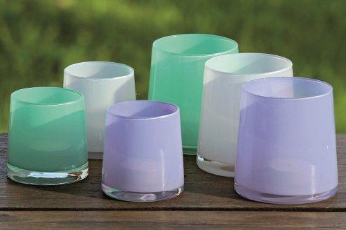 3 x dekorative Glas Windlichter Avila Teelichthalter aus Glas Geschenkidee