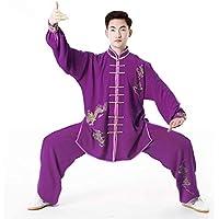 Ropa De Uniforme De Tai Chi Unisex Estiramiento De Seda De Algodón Tradicional Chino Tai Chi Taekwondo,Purple-M