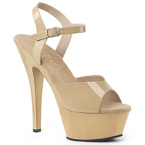 Pleaser KISS-209 Damen Plateau High Heels, Lack Creme, EU 41.5 (US 11)