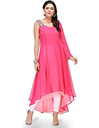 db025ce89e6a Utsav Fashion Plain Georgette Asymmetric Dress in Fuchsia