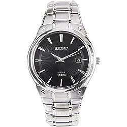Seiko SNE341P1-Grey Solar Analog-Watch Men-Automatic-black dial-Steel Bracelet