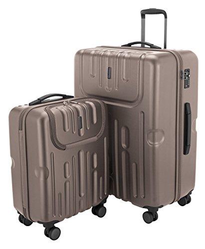 HAUPTSTADTKOFFER - Havel - 2er Koffer-Set (Handgepäck mit Laptop-Fach und Großer Reisekoffer) Trolley-Set Rollkoffer Hartschalenkoffer, TSA, (S & L), Gold
