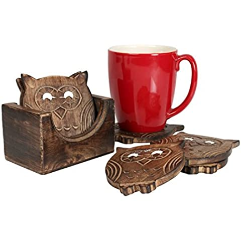 Store Indya, Regali di Natale Ringraziamento Set di 6 Mango in legno Coasters con cute mano scolpito gufo forme con Holder Coaster cucina e bar