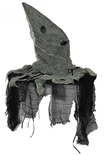 (Foxxeo 35269 | lodderiger Hexenhut schwarz grau Stofffetzen Hut Zombie Hexe Fetzen Halloween)