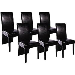 vidaXL 6 sillas de comedor en cuero negro Silla de comedor cocina salón oficina