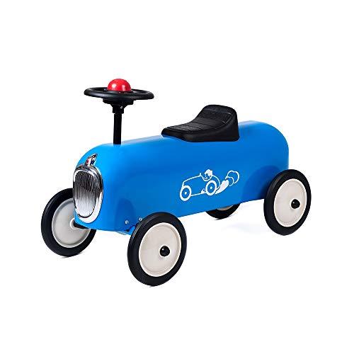 Baghera Rutschauto Racer Blau | Rutschfahrzeug für Kinder - zahlreiche lebensechte Details | Retro Rutschauto für Kinder ab 1 Jahr