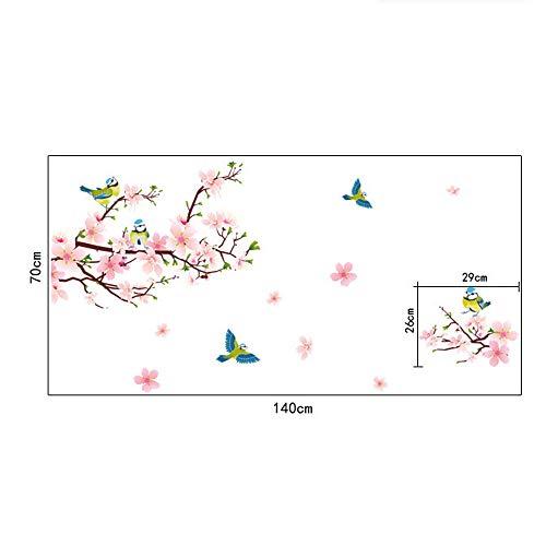 LHWY Frühling Pfirsich Elster Bewegen Können Wand Aufkleber PVC Wallpaper Wandtattoos (Rosa)
