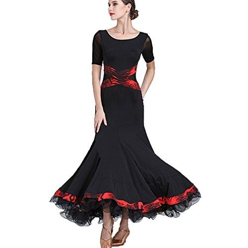 Modernes Ballsaal Tanz Kleid Frauen Performance Kostüm Kurze Ärmel Social Waltz Tango Tanz Abnutzungs Übungsrock, ()